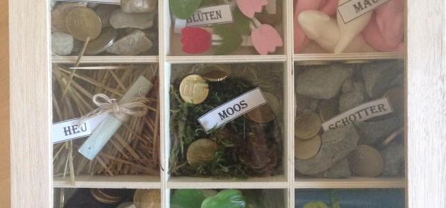 Hochzeitsgeschenk – Kiste Kies, Kohle…
